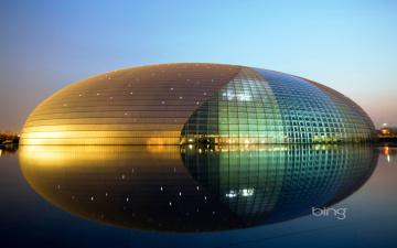 Картинка города пекин+ китай здание иллюминация центр искусств огни