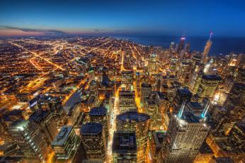 Картинка chicago города Чикаго сша здания небоскрёбы огни ночной город