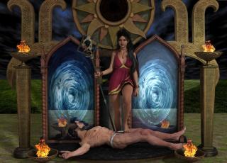 обоя 3д графика, фантазия , fantasy, девушка, взгляд, фон