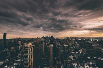 обоя города, нью-йорк , сша, 1wtc, соединенные, штаты, сумерки, горизонт, облака, owtc, one, world, trade, center, манхэттен, нью-йорк