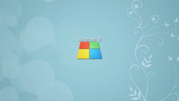 обоя компьютеры, windows 8, блики, голубой, надпись, логотип, растение