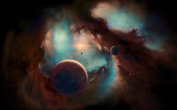 обоя космос, арт, галактика, планеты, звезды, вселенная