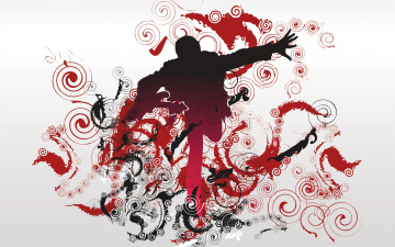 обоя векторная графика, люди , people, гитара, человек, спирали, завитки