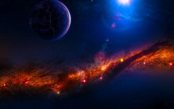 обоя космос, арт, галактика, звезды, вселенная, планета