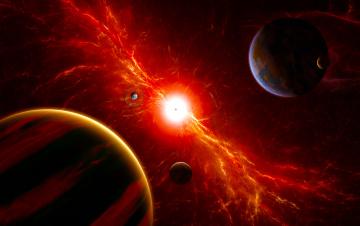 обоя космос, арт, галактика, звезды, вселенная, планеты