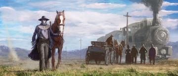 Картинка фэнтези люди повозка паровоз поезд лошади