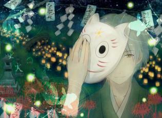 Картинка аниме hotarubi+no+mori+e hotarubi no mori e в лесу мерцания светлячков призрак gin парень ночь кимоно ручей мост фонари маска