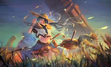 Картинка аниме магия +колдовство +halloween девушка