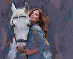 обоя рисованное, люди, нарисованная, движение, рисунок, девушка, свет, имитация, фон, мазки, белая, портрет, поза, пастель, картина