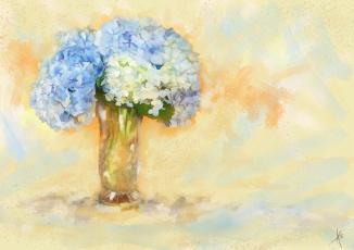 обоя рисованное, цветы, голубые, ваза, фон, рисованные, живопись, рисунок, картина, нежно, светлый, мазки, букет, имитация, акварели, нарисованные, цифровая, гортензия