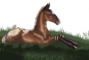 обоя рисованное, животные,  лошади, фон, логотип