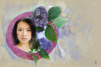 обоя рисованное, люди, в, круге, азиатка, картина, милая, живопись, нарисованная, портрет, фон, актриса, светлый, мазки, имитация