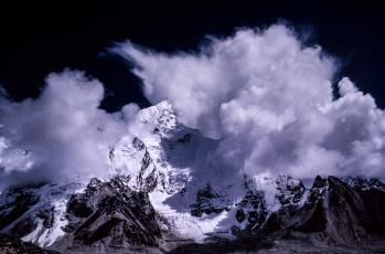 обоя природа, горы, облака, снег, тон, гора