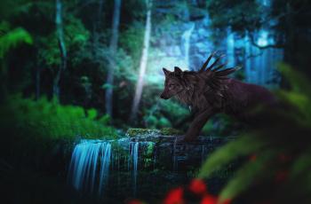 обоя рисованное, животные,  сказочные,  мифические, природа, лес, фэнтези, by, fiirewolf, волк