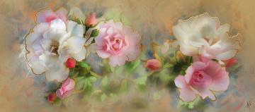 обоя рисованное, цветы, имитация, акварели, бутоны, нарисованные, бежевый, картина, фон, рисованные, живопись, светлый, розы, белые, цветок, роза, рисунок, цифровая, мазки, розовые