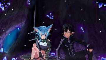 обоя аниме, sword art online, кирито, синон