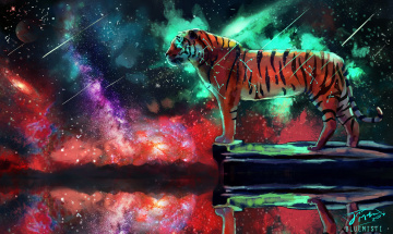 обоя рисованное, животные,  тигры, фантаcтика, космос, by, bluemisti, тигр