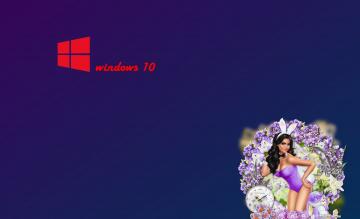 обоя компьютеры, windows  10, фон, логотип