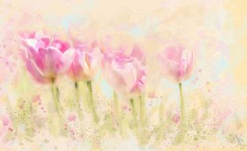 обоя рисованное, цветы, рисунок, имитация, акварели, цифровая, нарисованные, бутоны, картина, нежно, рисованные, живопись, тюльпаны, мазки, розовые
