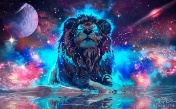 обоя рисованное, животные,  львы, фантаcтика, космос, by, bluemisti, лев
