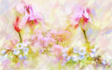 обоя рисованное, цветы, аквилегия, рисунок, имитация, акварели, цифровая, нарисованные, картина, нежно, рисованные, живопись, мазки, водосбор