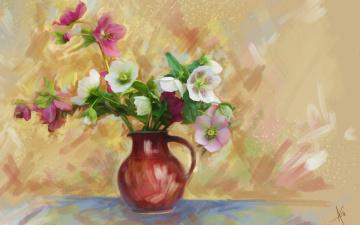 обоя рисованное, цветы, кувшин, ваза, картина, нежно, букет, фон, рисованные, живопись, рисунок, цифровая, имитация, акварели, нарисованные, анемоны, мазки, лепестки