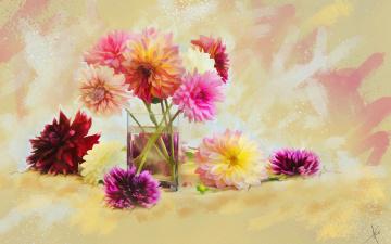 обоя рисованное, цветы, вода, рисунок, цифровая, натюрморт, имитация, акварели, нарисованные, стакан, картина, букет, фон, яркие, рисованные, живопись, георгины, мазки