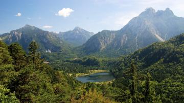 Картинка баварские альпы neuschwanstein природа пейзажи горы озеро лес