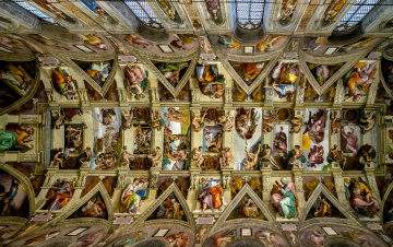 обоя интерьер, убранство,  роспись храма, сикстинская, капелла, ватикан, возрождение, фрески, микеланджело, потолок