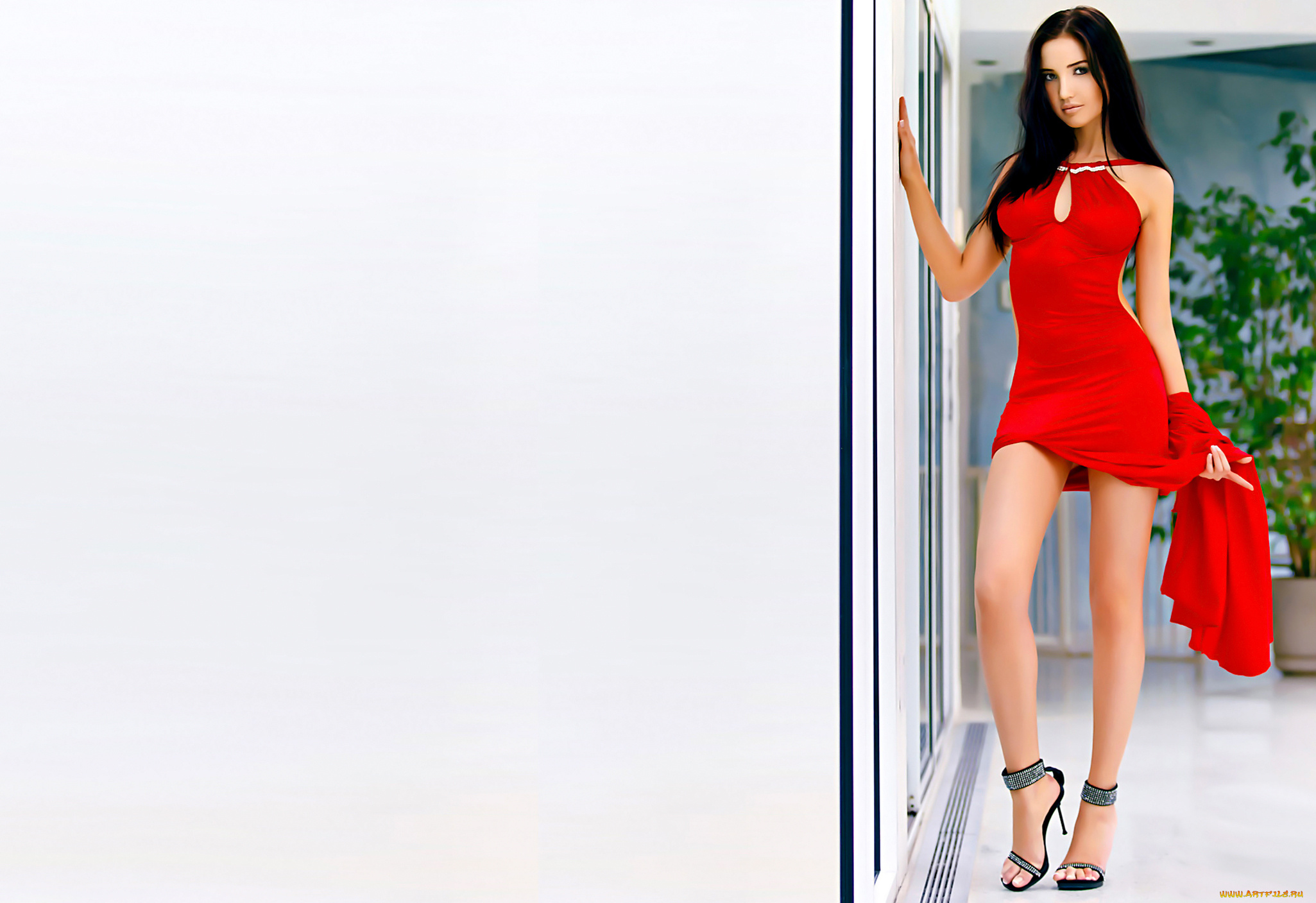 anal penetration for the appetitive brunette in the red dress  300049
