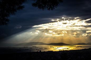 Картинка природа восходы закаты острова картал пендик стамбул турция корабли мраморное море облака тучи свет небо