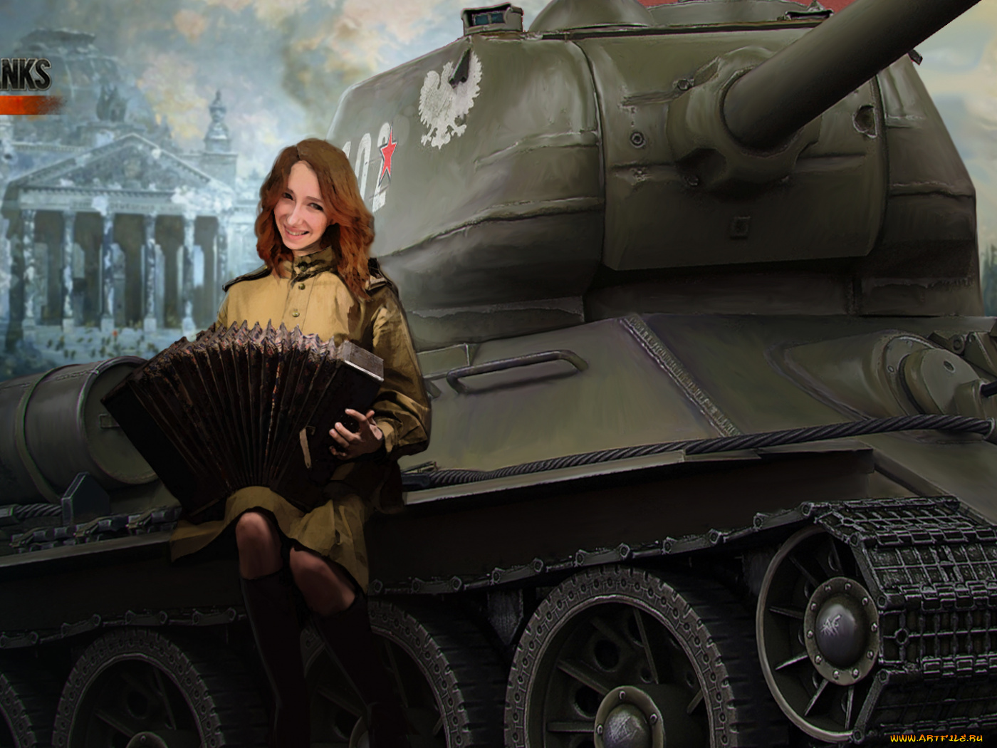 Фото девушка на дуле танка