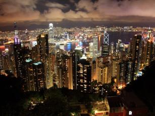 Картинка города гонконг китай река огни облака