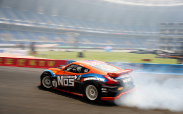 Картинка спорт drift дрифт занос дым ниссан nissan 370z