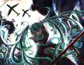 Картинка аниме vocaloid вокалоид арт крик самолёты синие волосы девушка