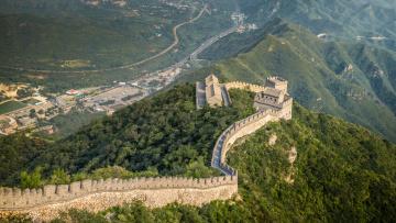 обоя grande muraille, города, - исторические,  архитектурные памятники, крепость, стена, горы