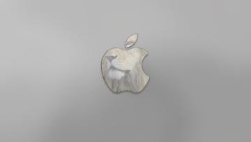 Картинка компьютеры apple яблоко лев серый логотип