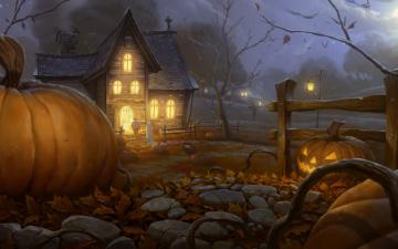 Картинка праздничные хэллоуин дом забор ночь тыква