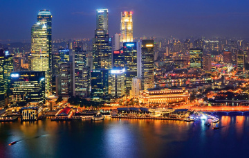 Картинка города сингапур здания ночь огни