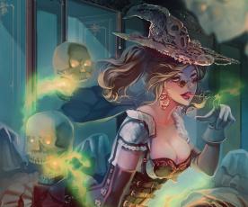 Картинка фэнтези девушки арт черепа магия ведьма шляпа девушка