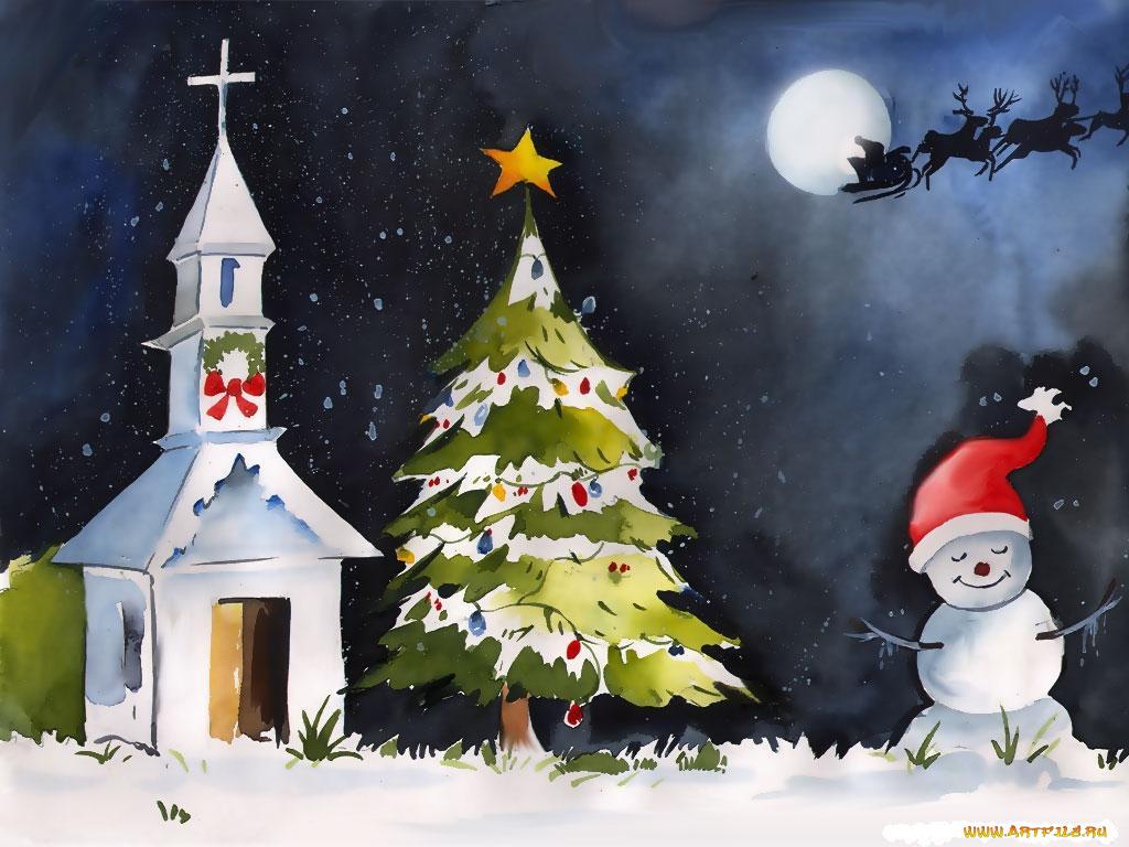 Для, рисованные рождественские картинки