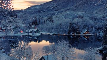 Картинка природа зима лес горы озеро норвегия отражение снег norway дома