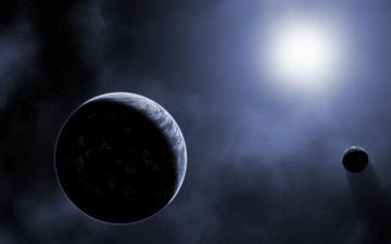 Картинка космос арт солнце планеты звёзды