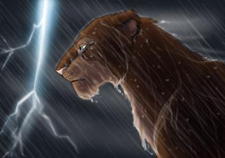 Картинка рисованное животные молния