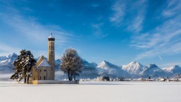 Картинка города -+католические+соборы +костелы +аббатства церковь святого кальмана швангау бавария германия альпы горы деревья зима