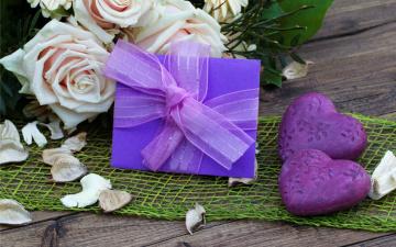 Картинка праздничные день св валентина сердечки любовь розы лента бант подарок