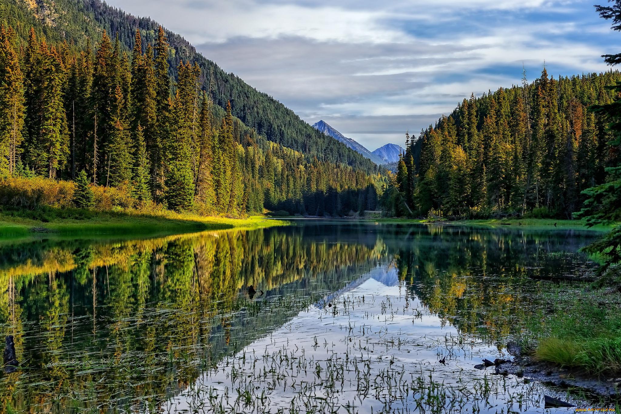 Озеро, гора, зеленый лес  № 621656 без смс