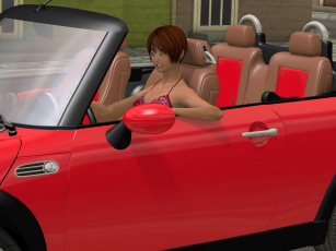 Картинка автомобили 3d+car&girl автомобиль фон взгляд девушка