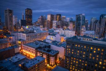 Картинка города сан-франциско+ сша панорама огни ночь небоскребы дома сан франциско