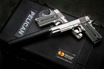 обоя оружие, пистолеты с глушителемглушители, пистолет, самозарядный, 1911, глушитель
